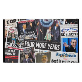 Obama Re-Election Newspaper Collage iPad Folio iPad Folio Cases