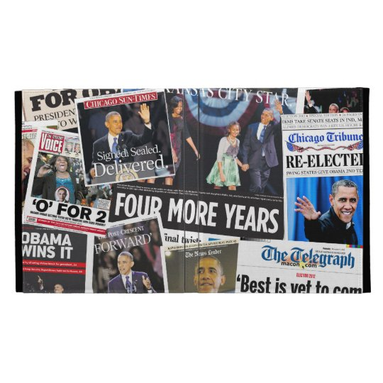 Obama Re-Election Newspaper Collage iPad Folio iPad Folio Cases