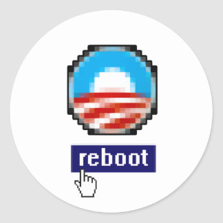 OBAMA REBOOT CLASSIC ROUND STICKER