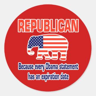 Obama republicano divertido pegatina redonda