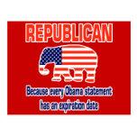 Obama republicano divertido postal