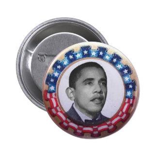 Obama Retro Circle Ribbon Button
