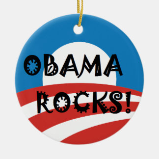 OBAMA ROCKS.png Double-Sided Ceramic Round Christmas Ornament