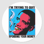 Obama Says: I'm Trying To Quit Classic Round Sticker