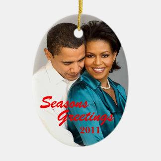 Obama sazona el ornamento del navidad de los adorno navideño ovalado de cerámica