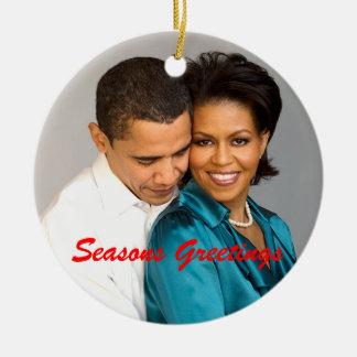 Obama sazona el ornamento del navidad de los adorno navideño redondo de cerámica