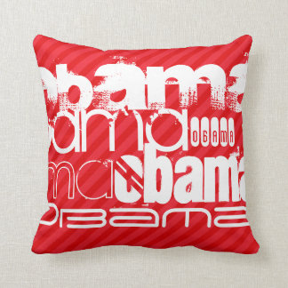Obama; Scarlet Red Stripes Pillows