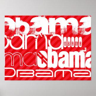Obama; Scarlet Red Stripes Poster