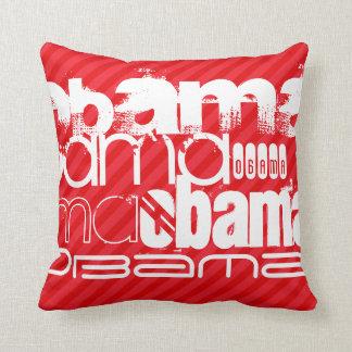 Obama; Scarlet Red Stripes Throw Pillow