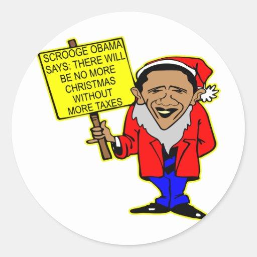 Obama Scrooge ningún navidad más impuestos Pegatina Redonda