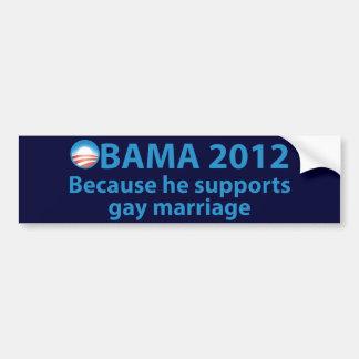 Obama se coloca fuerte para el matrimonio homosexu pegatina para auto