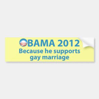 Obama se coloca fuerte para el matrimonio pegatina para auto