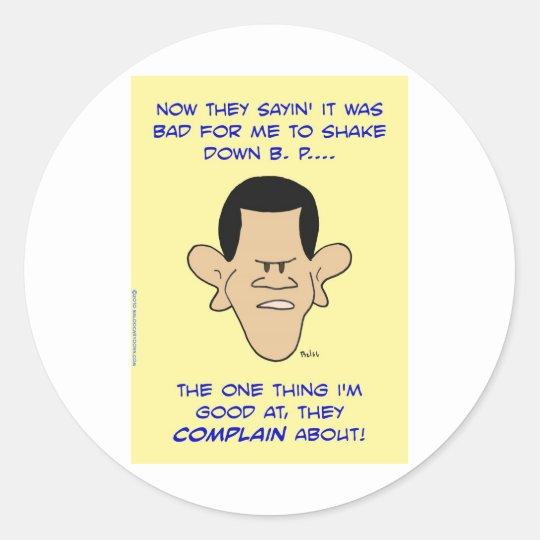 obama shake down shakedown classic round sticker