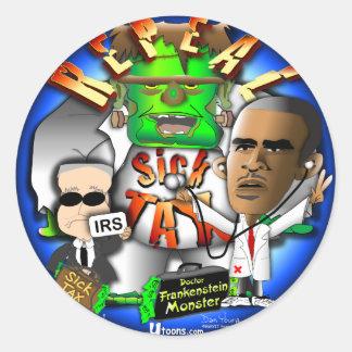 Obama Sick Tax Classic Round Sticker