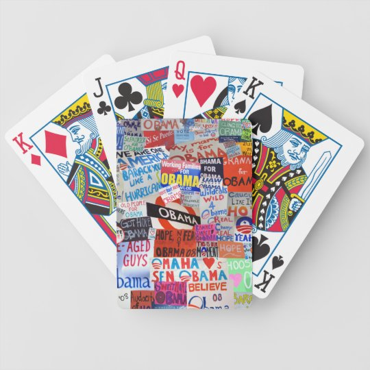 Obama Sign Collage Playing Cards