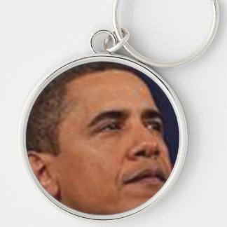 Obama Silver-Colored Round Keychain