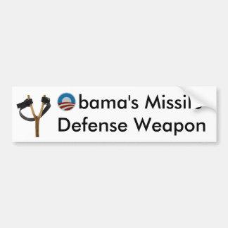 Obama Slingshot Missile Defense Weapon Car Bumper Sticker