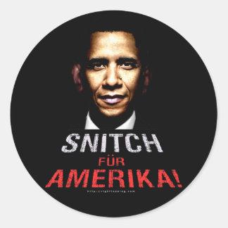 Obama Snitch Classic Round Sticker