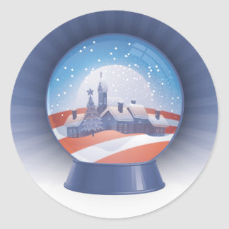 obama snow globe classic round sticker