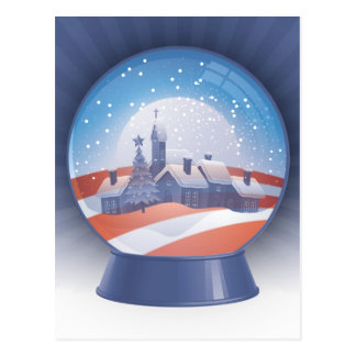 obama snow globe post card