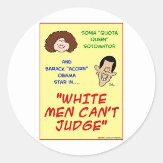 Obama sotomayor white men jump classic round sticker