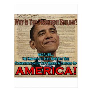 Obama Spit On Constitution Postcard