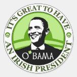 Obama St. Patrick's Day Classic Round Sticker