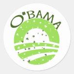 Obama St Patricks Day Classic Round Sticker