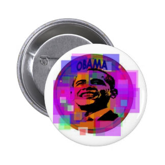 Obama Stained Glass- style Button