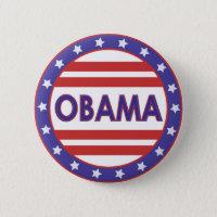 Obama Stars&Stripes Circle Pinback Button