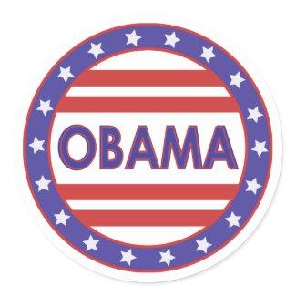 Obama Stars&Stripes Circle Stickers