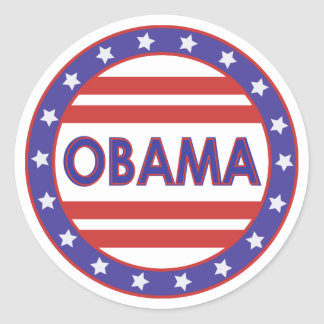 Obama Stars&Stripes Circle Stickers