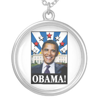 Obama Stars & Stripes Silver Plated Necklace