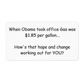 Obama sticky note protest label