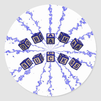 Obama Sucks toy blocks in blue Classic Round Sticker