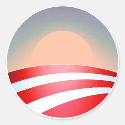 Obama Sunset Classic Round Sticker