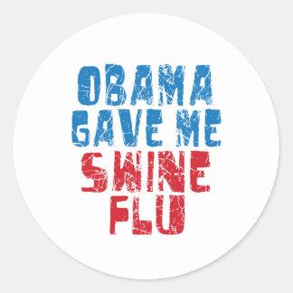 obama swine flu classic round sticker