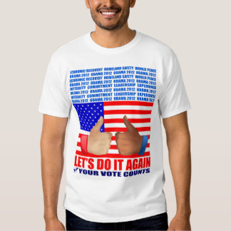 Obama T-Shirt: 2012 Obama - MiniWall Flag/Thumbs A T-Shirt