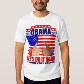 Obama T-Shirt: 2012 Obama - Thumbs Ebony/Ivory T-Shirt