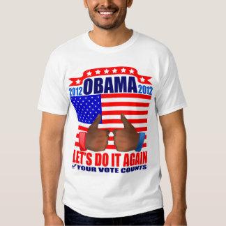Obama T-Shirt: 2012 Obama - Thumbs Ebony T-Shirt