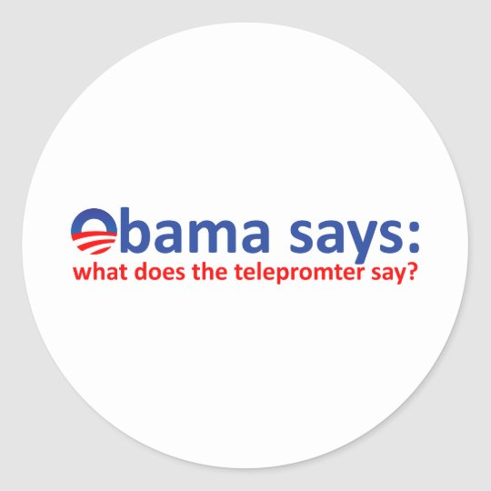 Obama Telepromter Classic Round Sticker