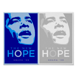 Obama - The New Hope Blue & White Poster