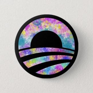 Obama Tie Dye Rainbow Gay Pride Button