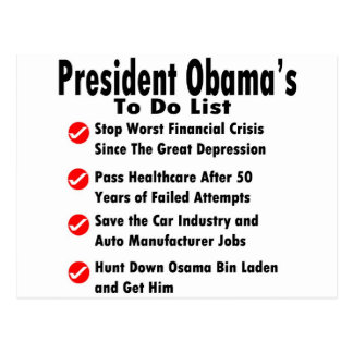 Obama To Do List Postcard