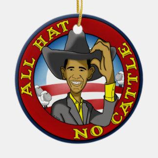 Obama todo el gorra ningún ganado adorno navideño redondo de cerámica