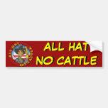 Obama todo el gorra ningún ganado pegatina de parachoque