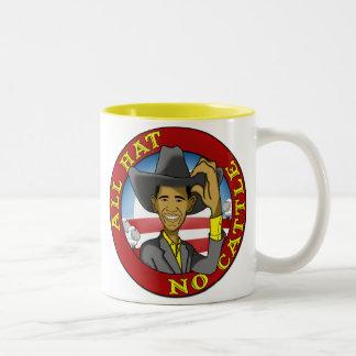 Obama todo el gorra ningún ganado taza de café de dos colores