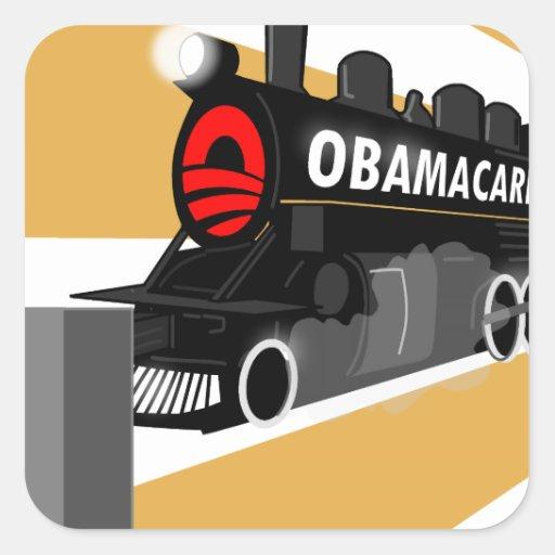 Obama trainwreck.png calcomania cuadradas personalizada