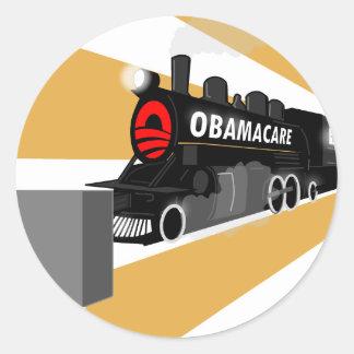 Obama trainwreck.png classic round sticker