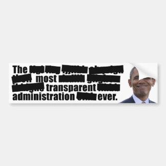 Obama transparente - elección 2012 etiqueta de parachoque
